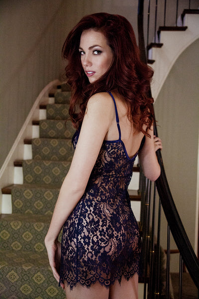 Navy blue lace sheer slip, as seen in Forbes