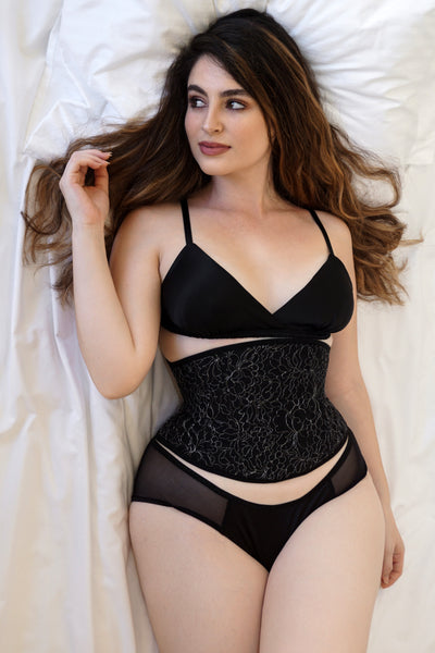 Angela Friedman black lace corset and silk lingerie set