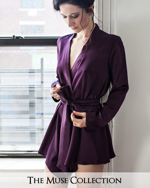 Angela Friedman purple silk robe, Muse Collection of 100% silk kimono robes British lingerie made in the UK Britain England