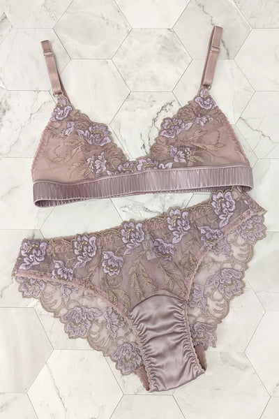 Lilac purple lingerie set in silk and embroidered lace online