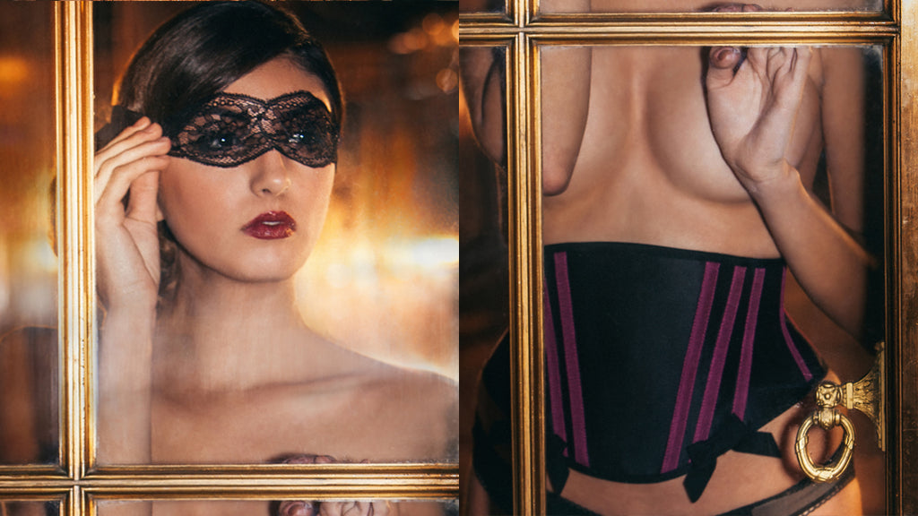 Luxury designer lingerie, British UK handmade intimate apparel, lace blindfold sleep mask eye mask corsets corsetry waist cincher corset