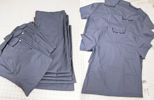 Light blue scrubs for the NHS, manufactured by Angela Friedman in London