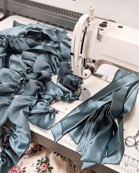 Behind the scenes sewing, the making of silk ruffle panties