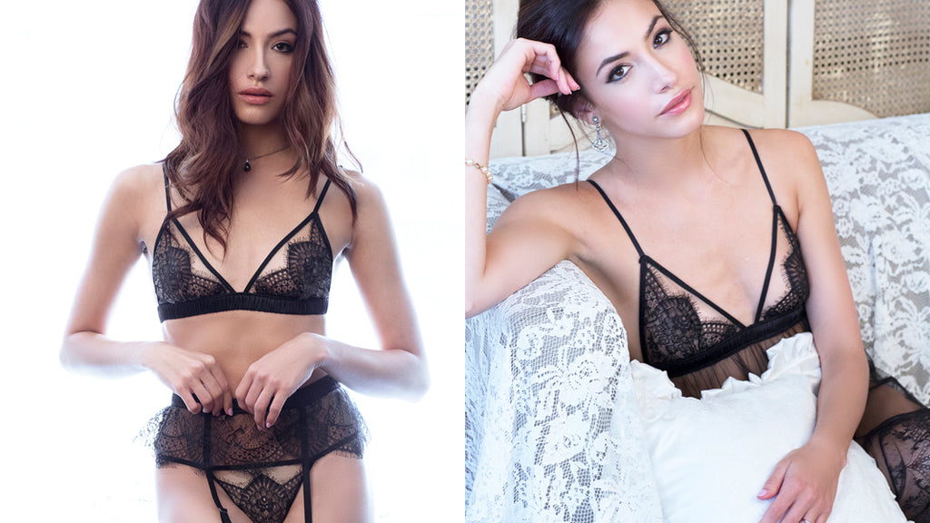 Angela Friedman luxury designer lingerie, black silk lace underwear sets handmade luxury intimates UK England GB