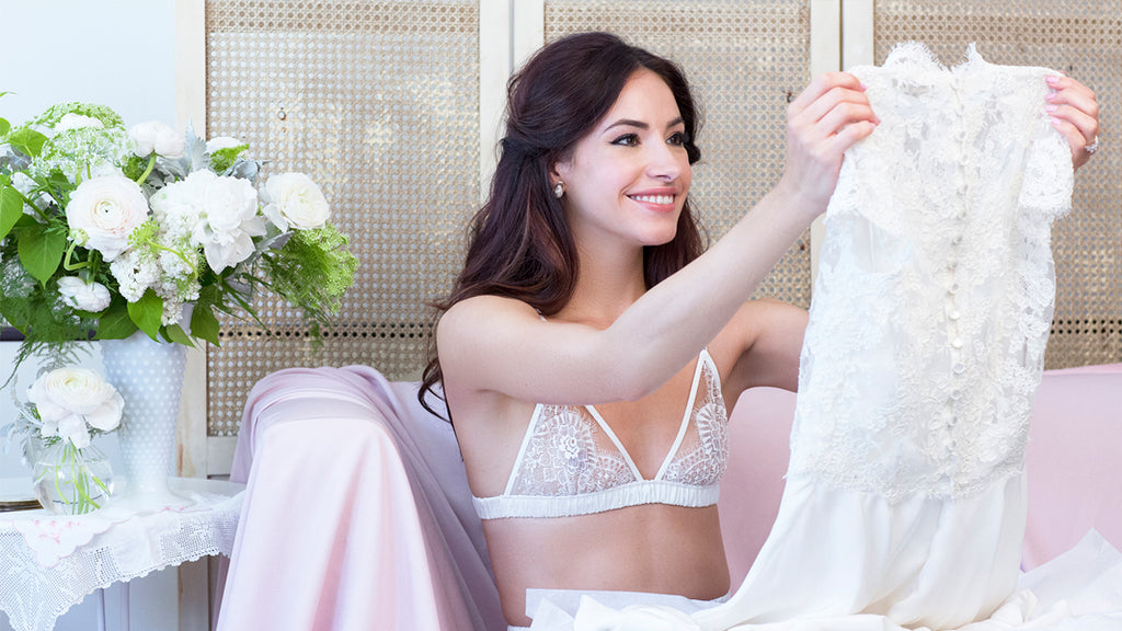 Angela Friedman wedding lingerie, trousseau white bridal bride underwear sets handmade luxury intimates bralet bralette bras
