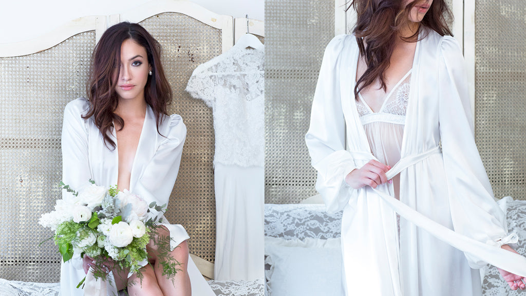 Angela Friedman wedding lingerie, trousseau white bridal bride underwear sets handmade luxury intimates 100% silk robe