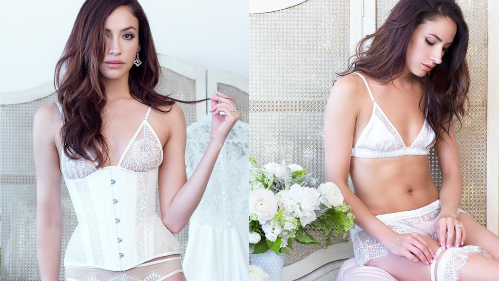 Angela Friedman wedding lingerie, trousseau white bridal bride underwear sets handmade luxury intimates corsets corset corsetry