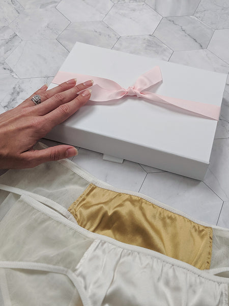 100% silk knickers and panties with a white lingerie gift box for brides