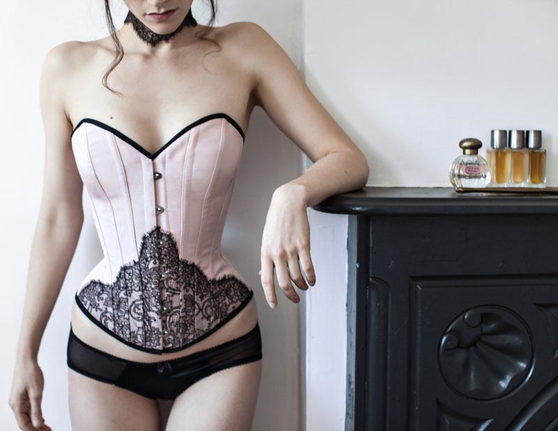Angela Friedman pink and black lace vintage style corset and silk underwear set