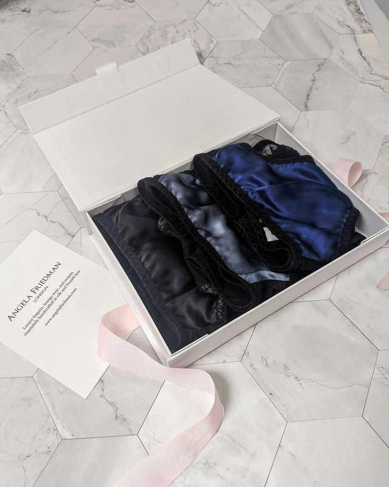 3 panty gift set by luxury lingerie designer Angela Friedman