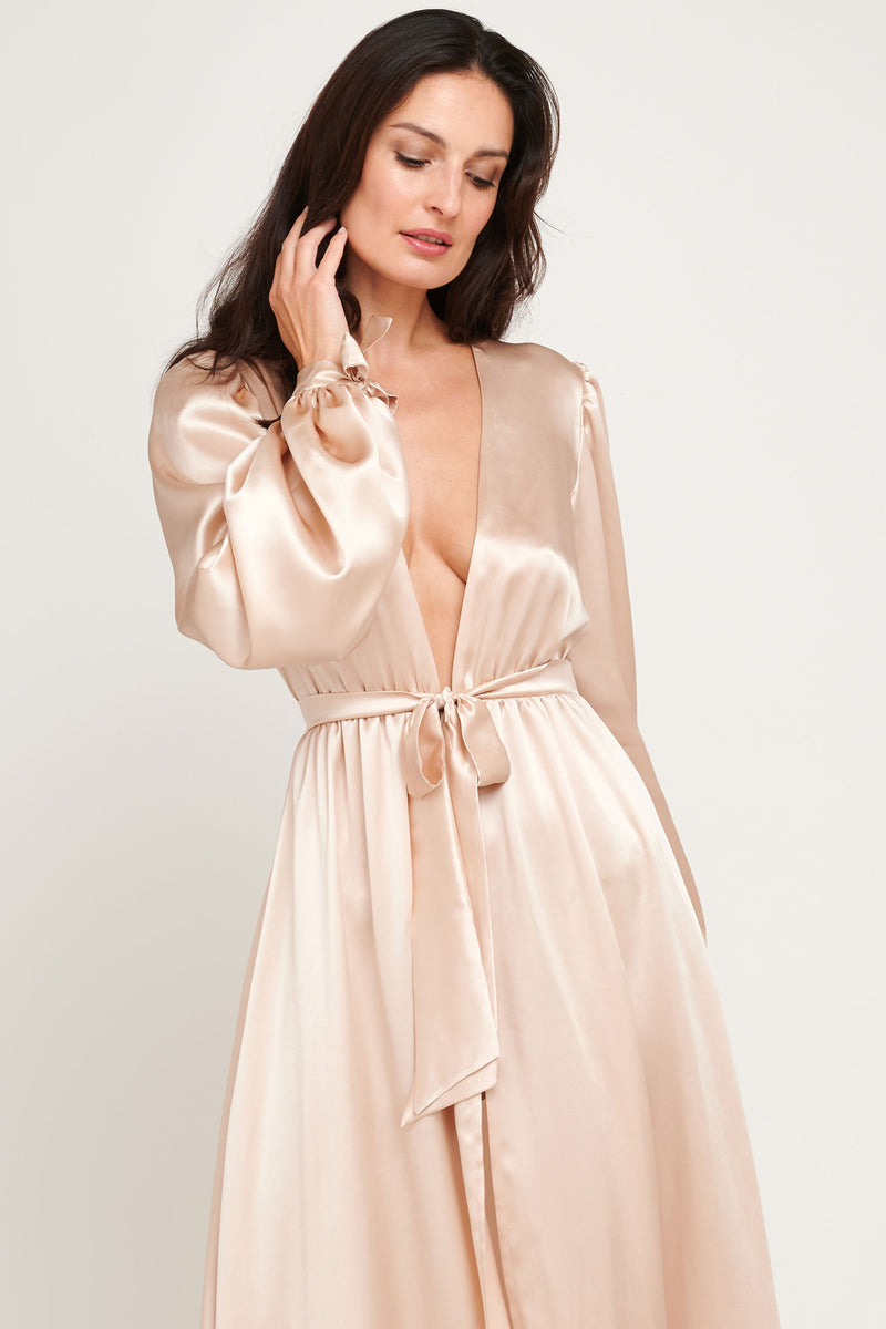 Blush Simone robe in vintage style pink silk satin