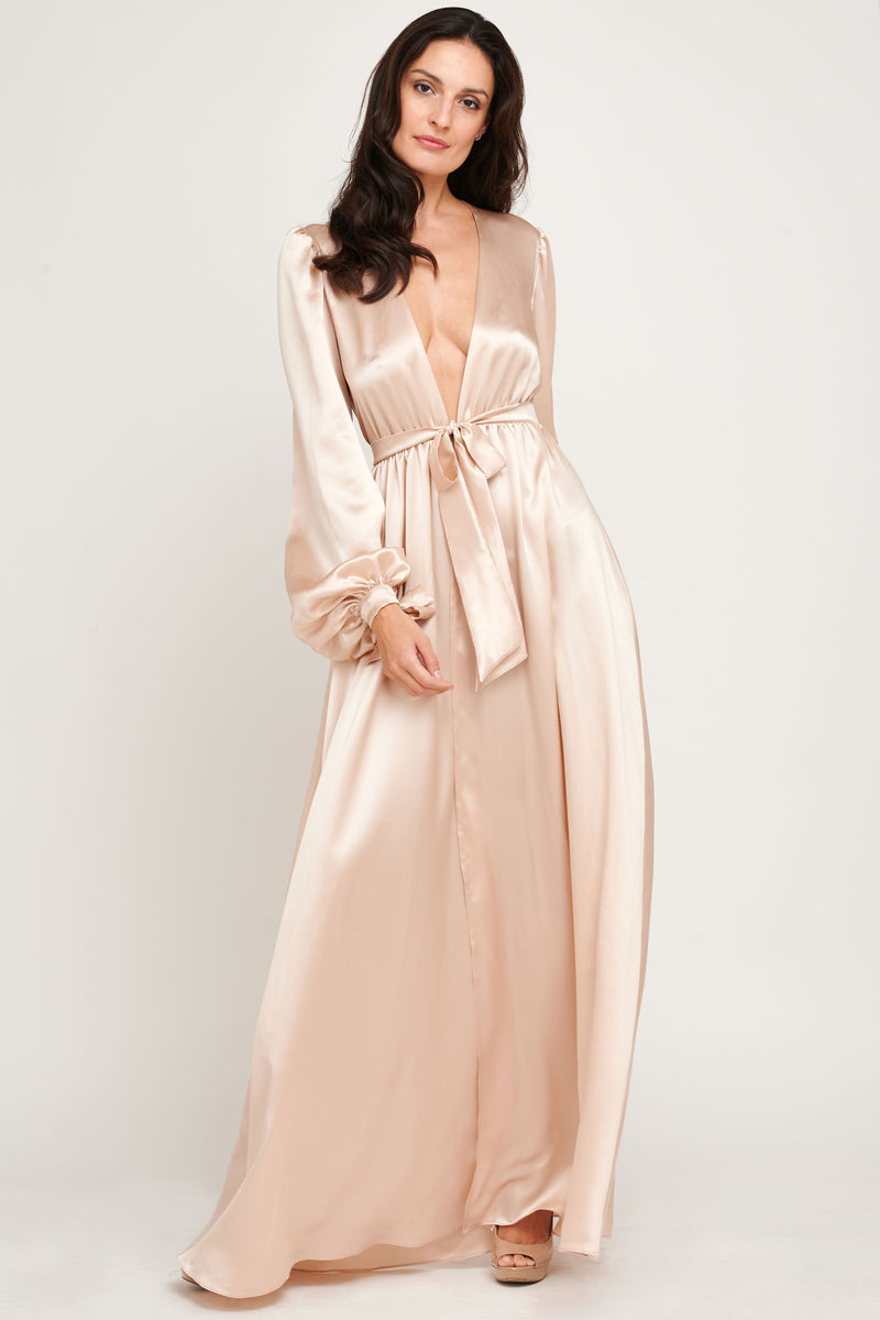 Luxury designer blush pink robe, made in 100% silk satin with floor-length skirt