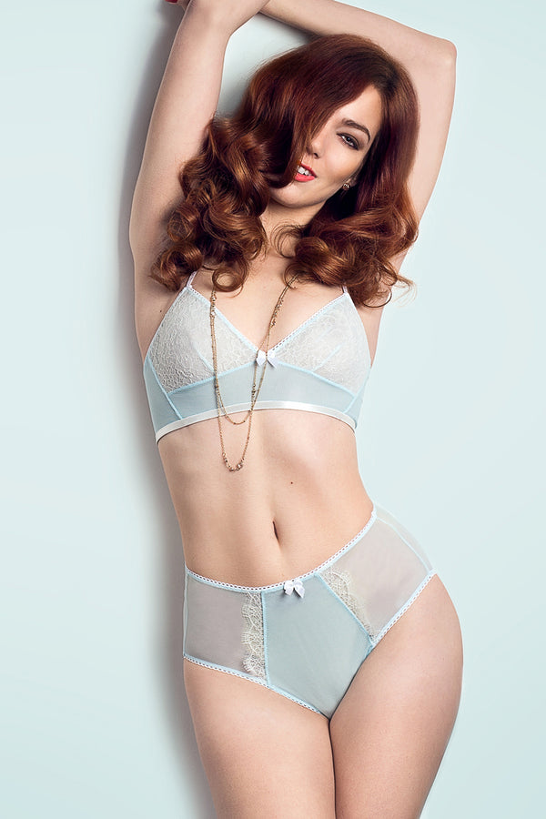 Vintage style lingerie set in blue and white french lace for wedding trousseau