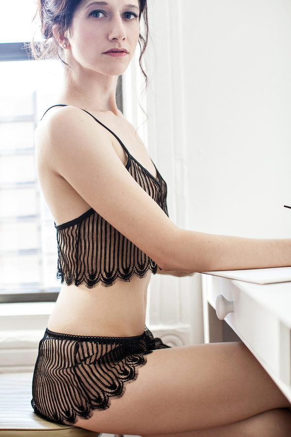 Black French lace lingerie and lounge wear set by Angela Friedman