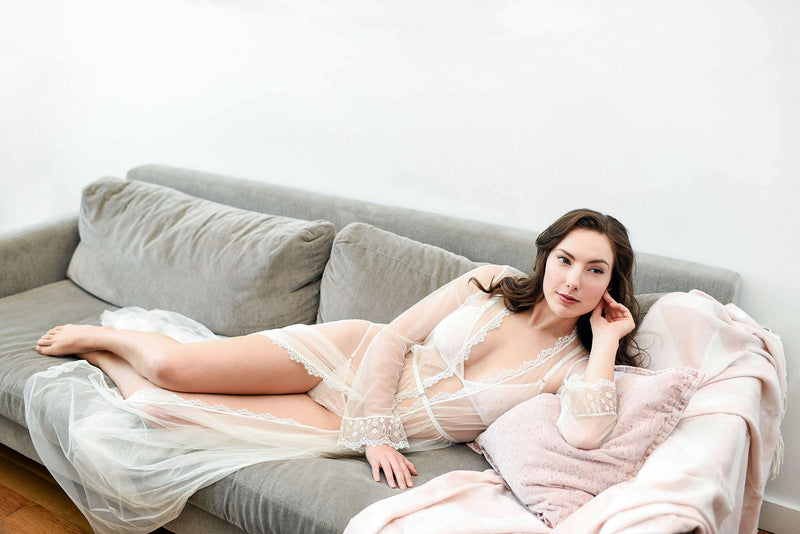 Vintage inspired retro style tulle robes, sheer floor length long robe Angela Friedman white bridal ivory wedding lingerie