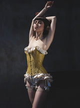 Retro luxury lingerie set with silk ruffled underwear and a gold brocade corset