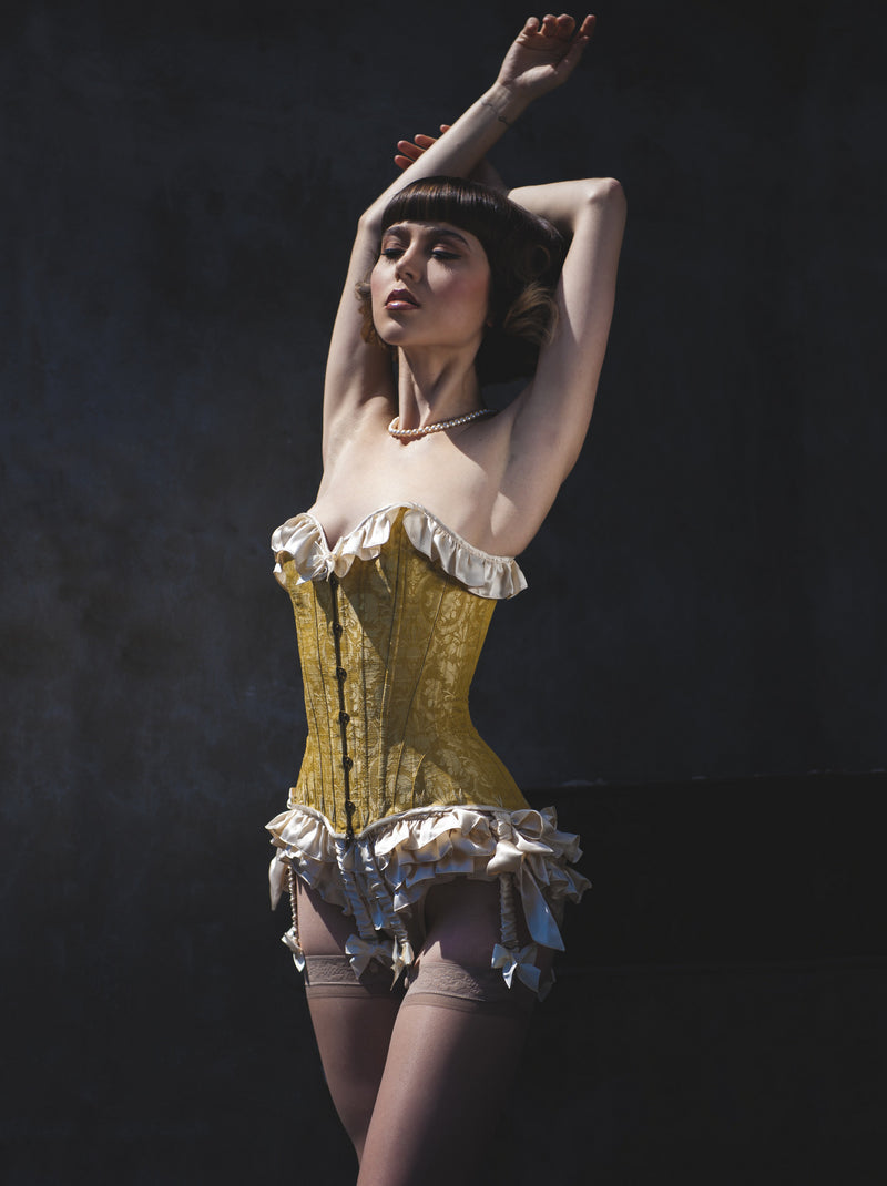 Angela Friedman designer lingerie and silk ruffled panties, ruffle knickers frilly bloomers, Marie Antoinette corset costumes