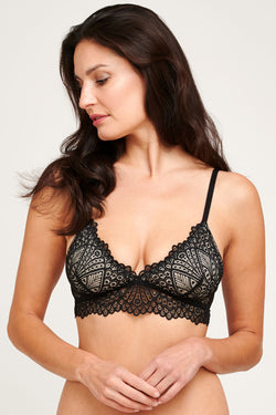 Sheer black lace bralette with nude silk lining