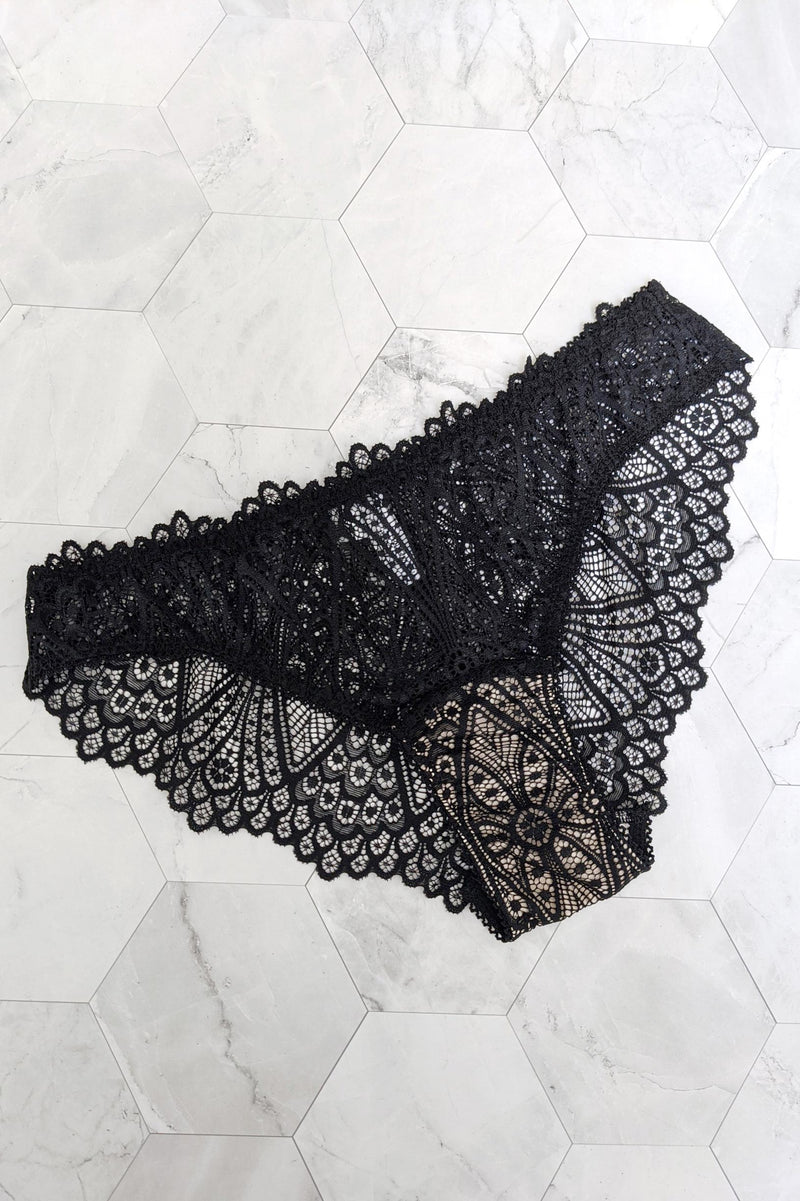 Black lace knickers with a pure silk gusset liner