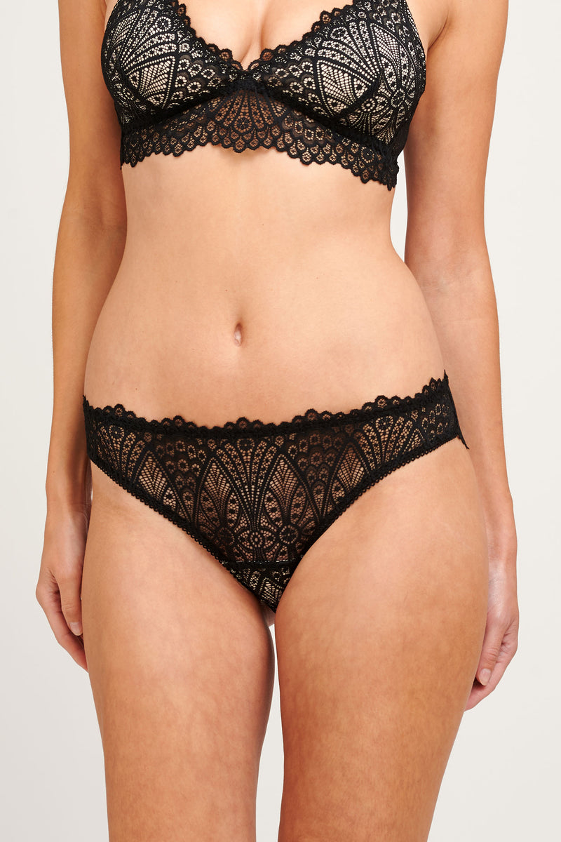 Black lace lingerie set with a silk bralette and sheer knickers