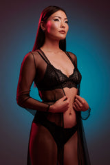 Black lace lingerie set with a sheer tulle dressing gown