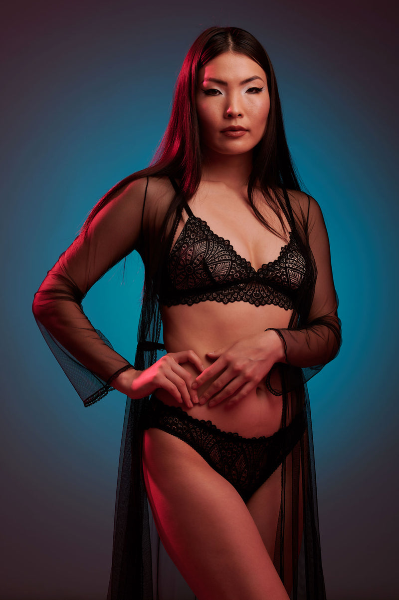 Dahlia lingerie set with a luxury sheer black robe