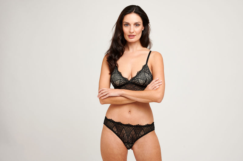 Dahlia lingerie set with a luxury lace bralette and black panties