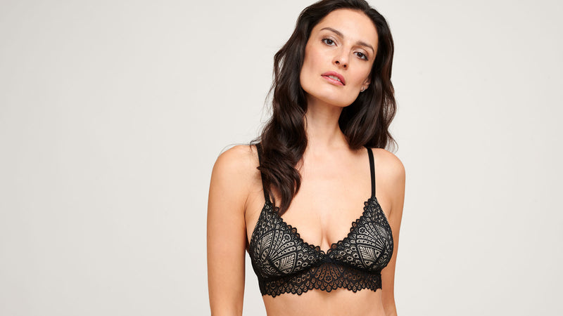 Designer lace bralette with silk lined cups and wirefree design