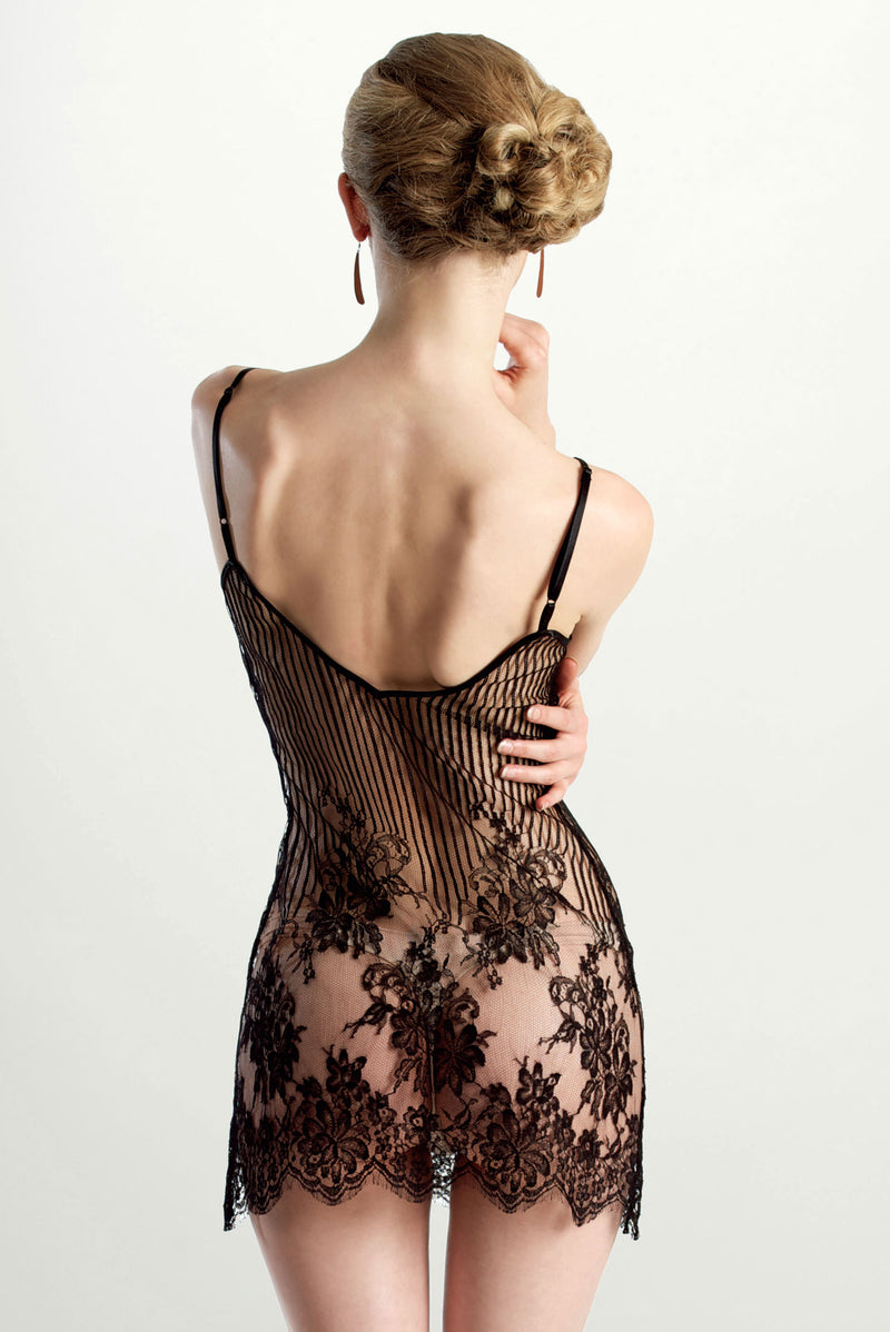 French lace lingerie with a black floral striped lace slip