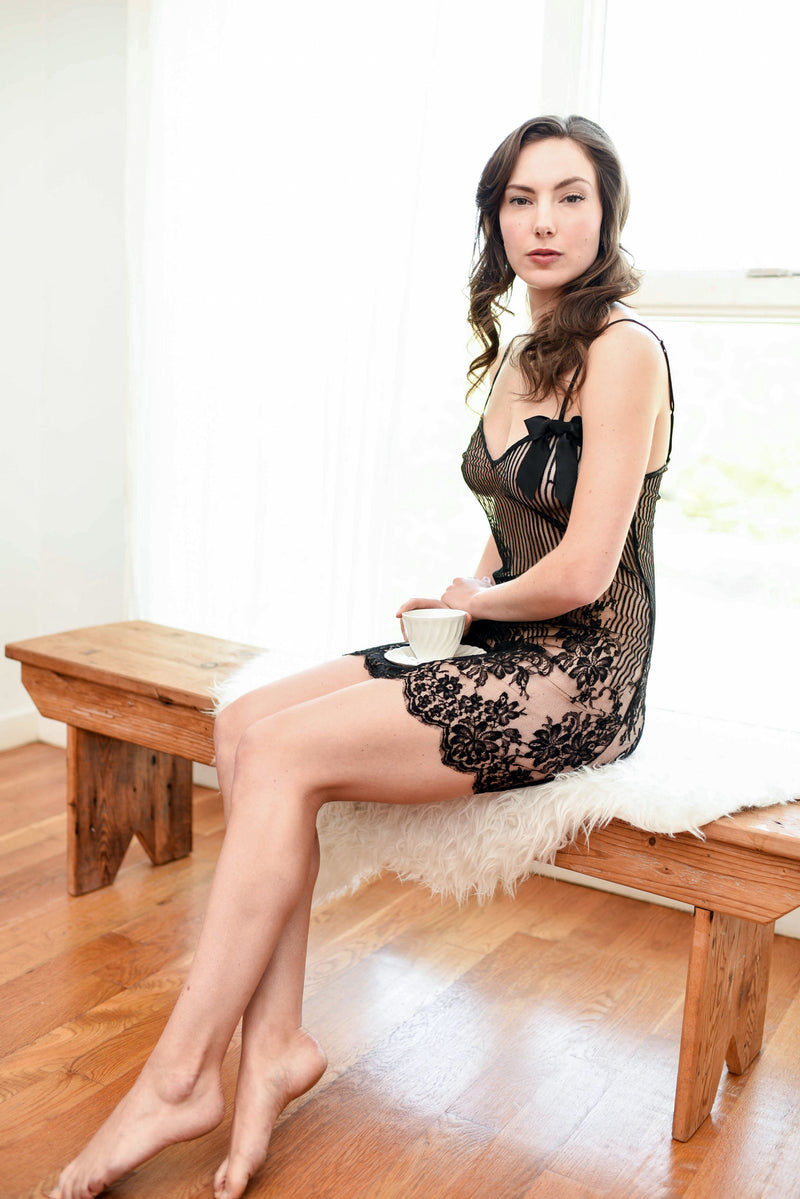 Dentelle slip by Angela Friedman in black French lace, sheer luxury lace negligee
