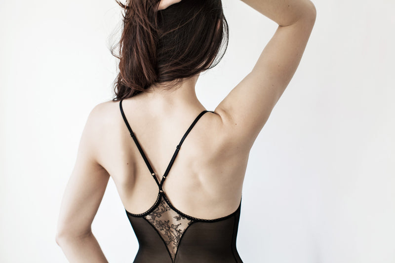 Angela Friedman black mesh bodysuit body suit with French lace racerback vintage inspired retro lingerie designer luxury