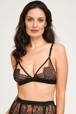 Giselle black lace bralette with a silk ruched band and elastic straps