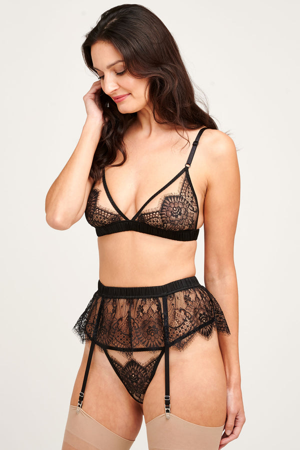 Giselle black lace suspender belt with a matching lingerie set