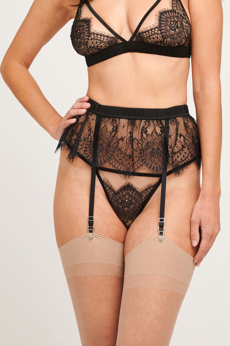 Giselle black lace suspender belt with a silk bra and panties