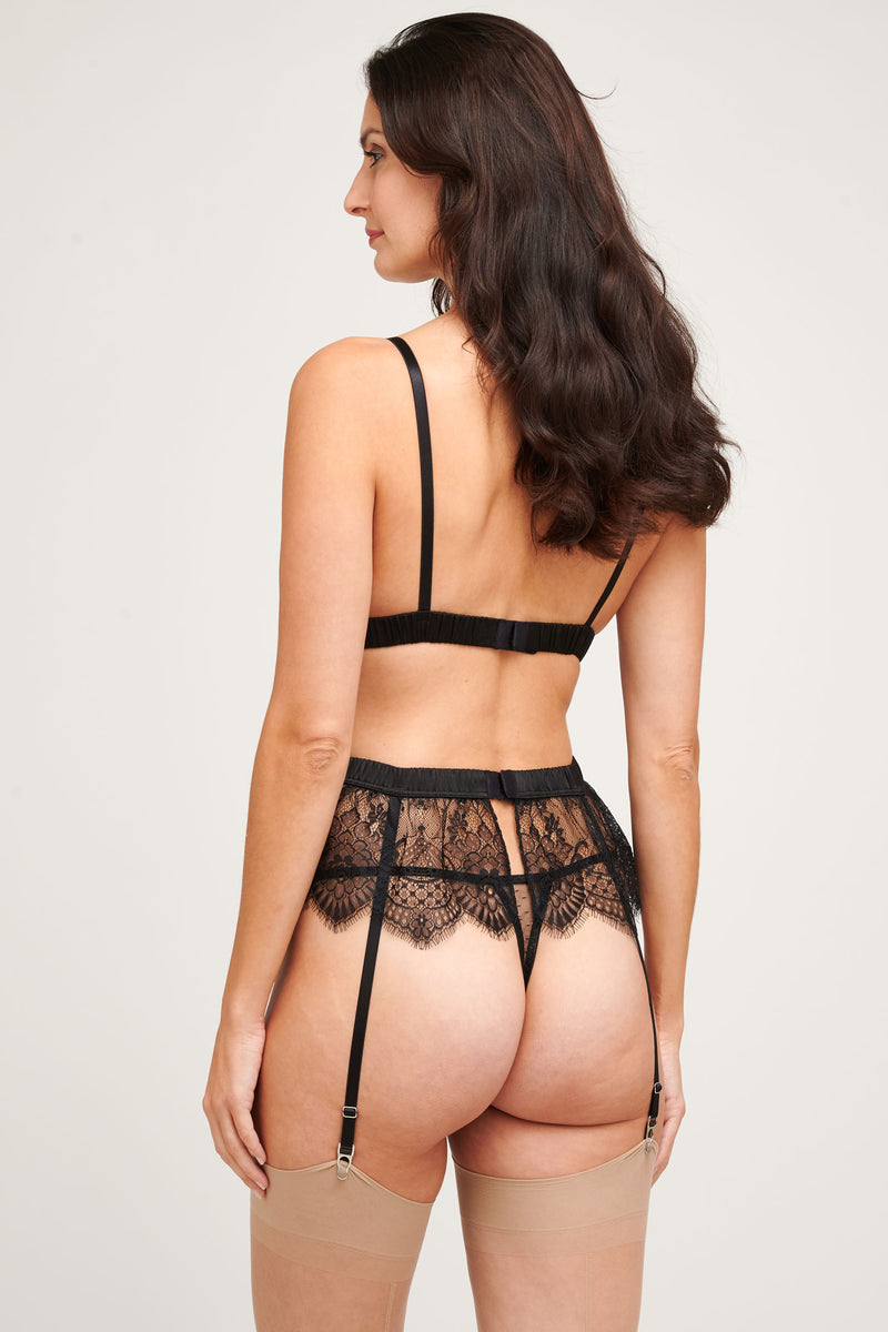 Giselle black lace 3 piece underwear set by designer Angela Friedman