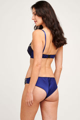 Navy blue lingerie set with cheeky silk knickers and an embroidered bra