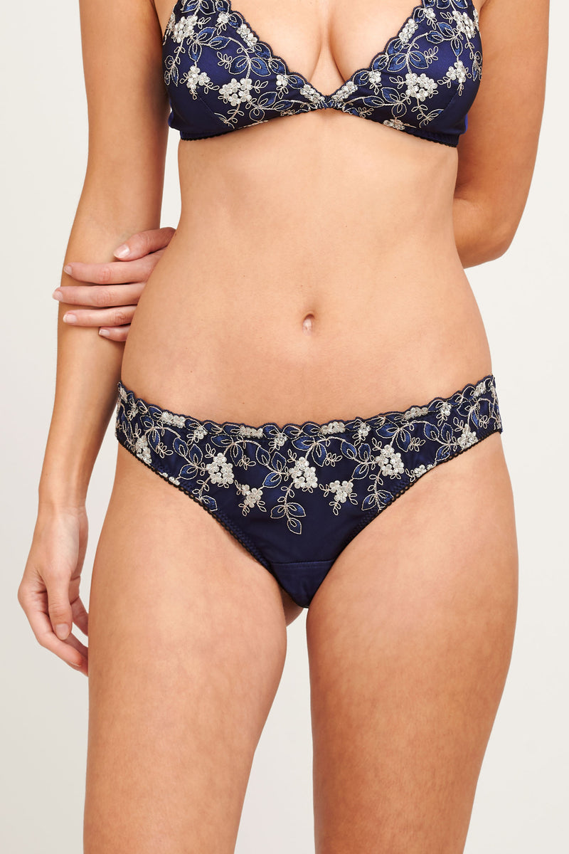 Iris embroidered silk knickers in navy blue and silver