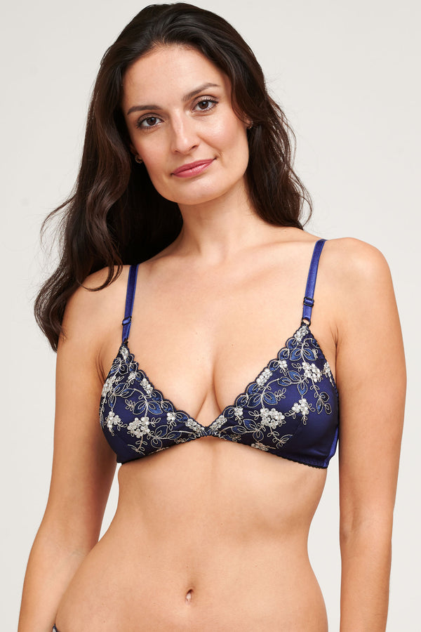 Luxury silk bralette in navy blue embroidery