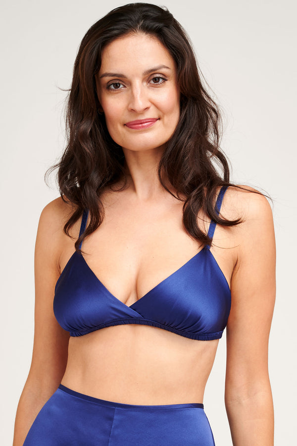 Navy blue silk bralette by luxury lingerie designer Angela Friedman