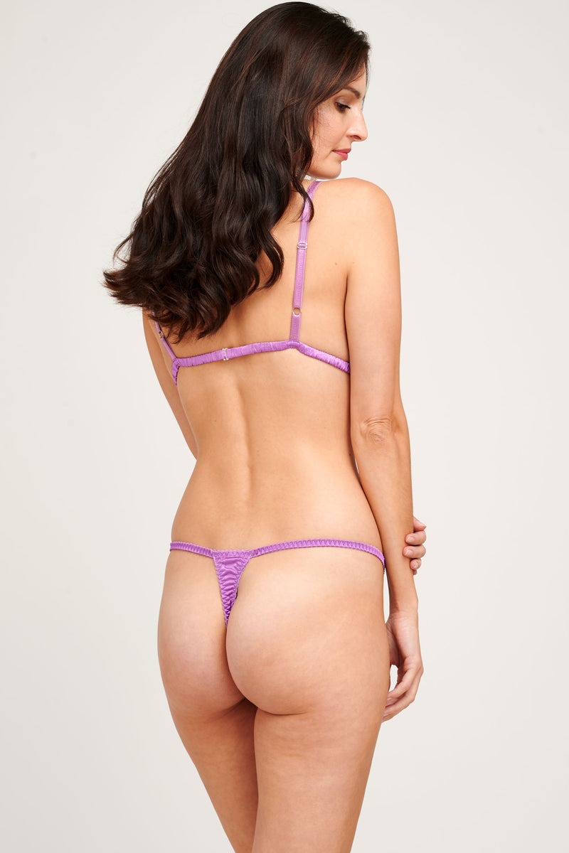 Louisa violet silk bra and purple thong