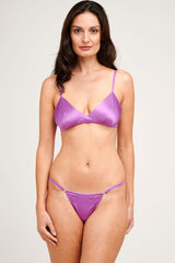 Louisa violet silk bralette and purple knickers