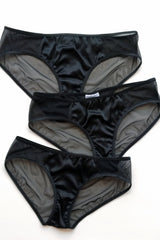 vintage-inspired 100% silk knickers with black mesh