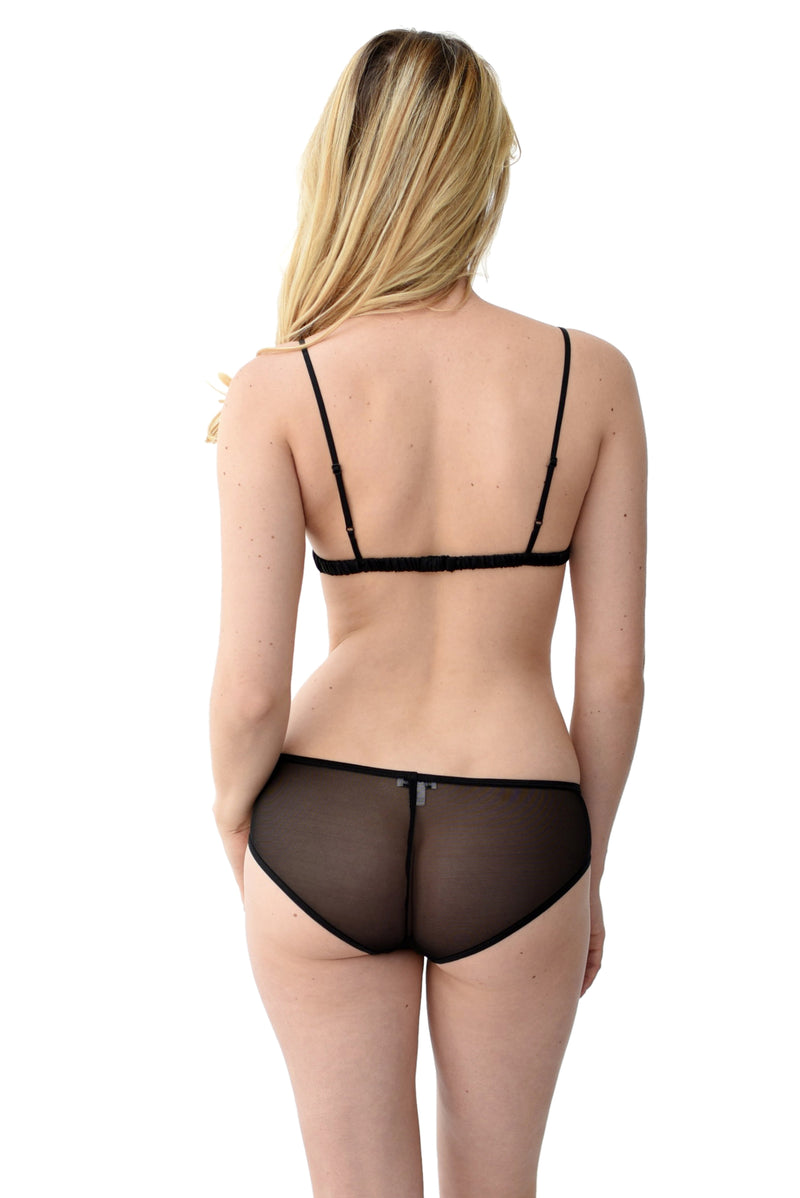 women's black mesh underwear set back view