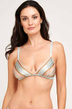 Striped Marianne bralette, handmade in 100% silk satin