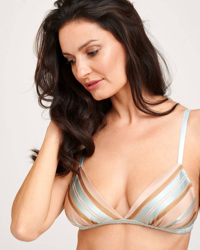 Pastel pink bralette with blue stripes in pure silk