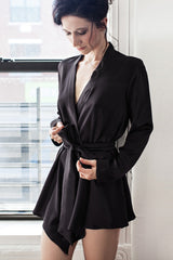 Luxury black satin robe in 100% pure silk