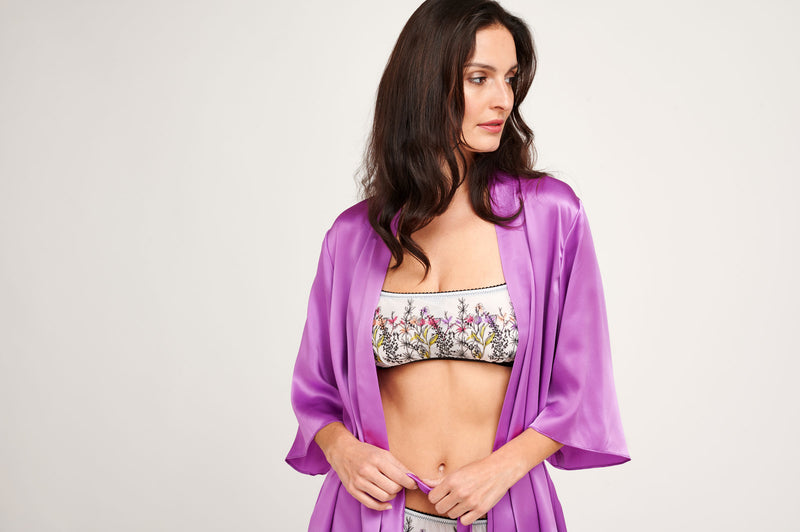 Mesh embroidered lingerie set with a purple silk robe