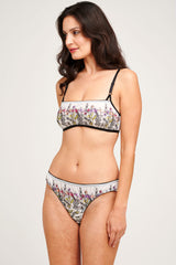 Pretty floral lingerie set with embroidered flowers and white and black mesh