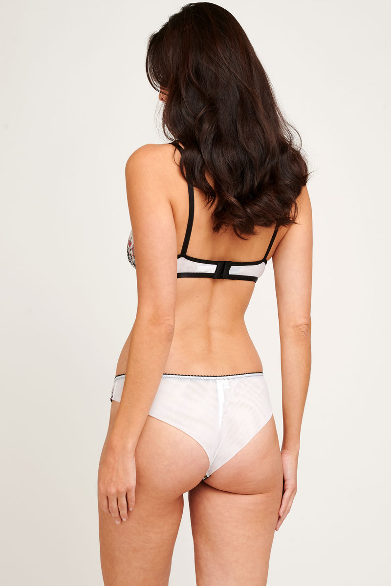 White and black mesh lingerie set with a bralette and brazilian briefs