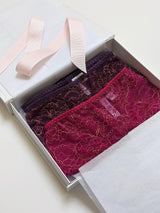 Ruby boxed lingerie gift set with 2 pairs of designer knickers